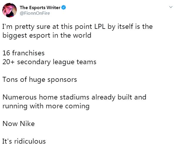 ESPN撰稿人评LPL合作耐克:世上最大电竞体